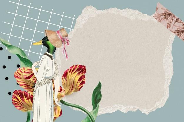 Fundo de papel de parede de moldura de colagem vintage, textura de papel com espaço de design