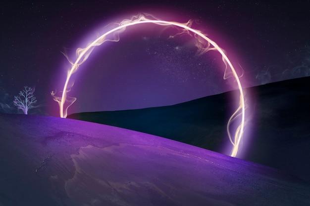 Fundo de papel de parede escuro estético, luz de néon