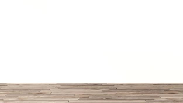Fundo de parede de gesso pintado de branco sobre uma superfície de madeira. para a colocação de peças de trabalho a apresentar. renderização 3d