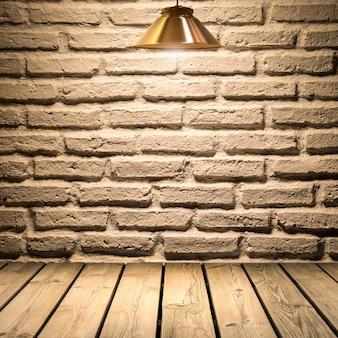 Fundo de parede de tijolo branco em piso de madeira com lâmpadas