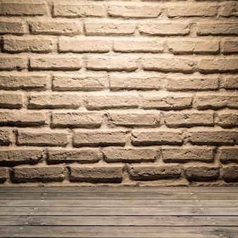 Fundo de parede de tijolo branco em piso de madeira