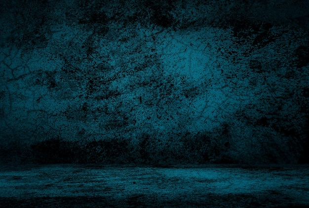 Fundo de parede do estúdio de textura de concreto azul vintage grunge com vinheta.