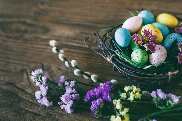 Fundo de páscoa ovos coloridos brilhantes no ninho com flores da primavera, sobre fundo escuro de madeira