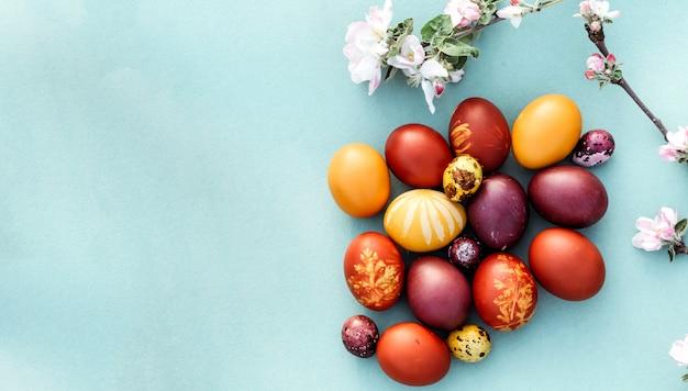 Fundo de páscoa, ovos de galinha e codorna multi-coloridas sobre fundo azul brilhante.