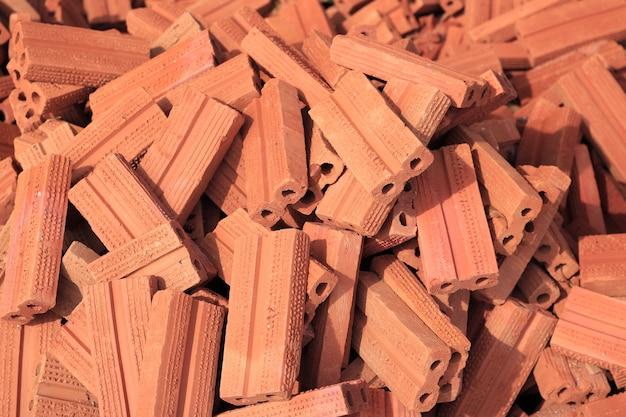 Fundo de pilha de tijolo vermelho