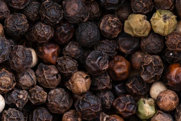 Fundo de pimenta preta em close-up