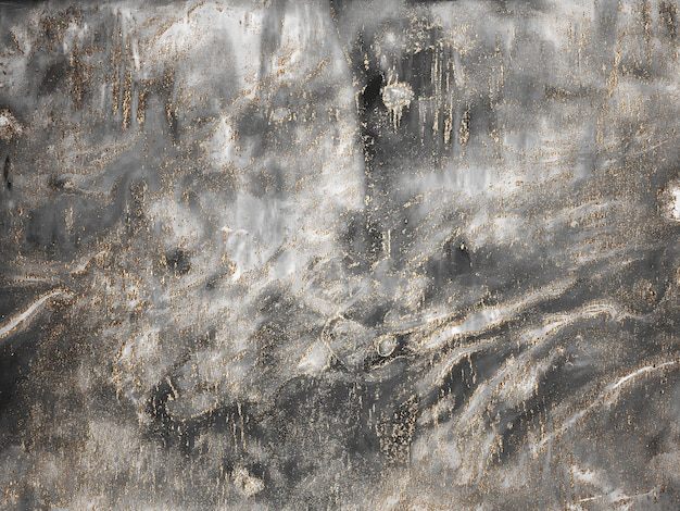 Fundo de pintura abstrata de tela de mármore cinza com textura de ouro e bronze
