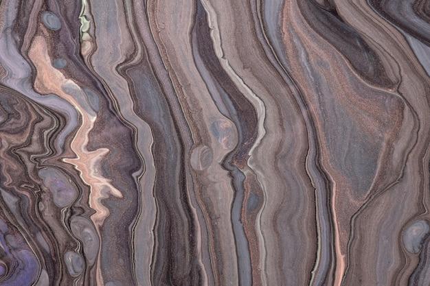 Fundo de pintura acrílica de mármore líquido marrom e cinza fluido abstrato