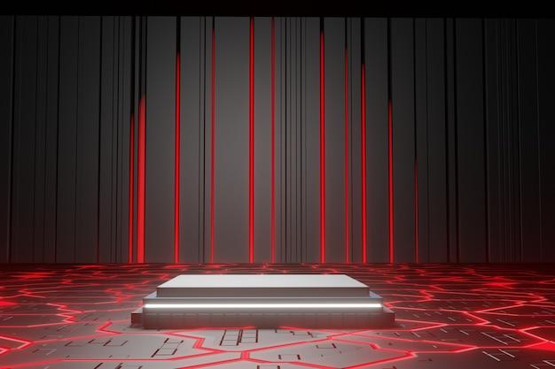 Fundo de plataformas geométricas abstratas vermelhas