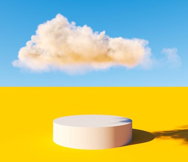 Fundo de pódio abstrato mínimo piso amarelo e pedestal ou plataforma de nuvens brancas