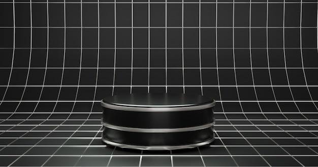 Fundo de pódio preto simples de luxo para vitrine de produtos