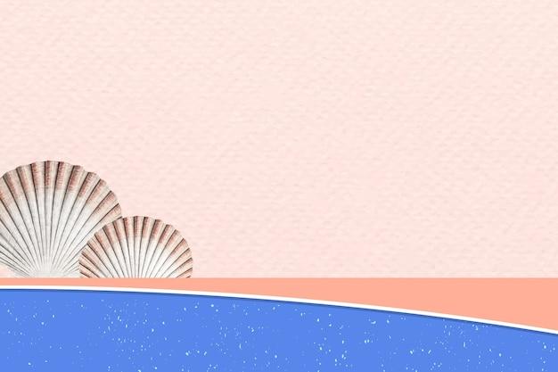 Fundo de praia com conchas de mexilhões, remixado de obras de arte de augustus addison gould
