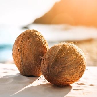 Fundo de praia com dois cocos