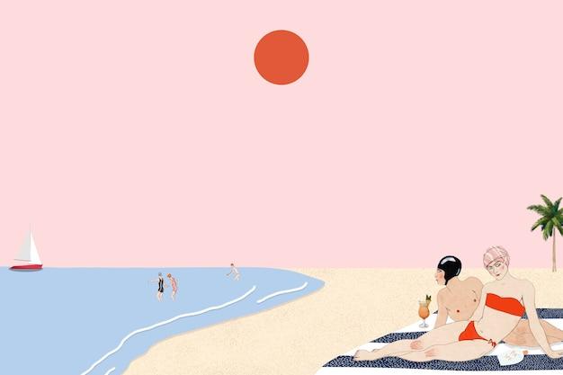 Fundo de praia com pessoas tomando banho de sol, remixado de obras de arte de george barbier
