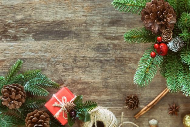 Fundo de prancha de madeira mesa no conceito de natal