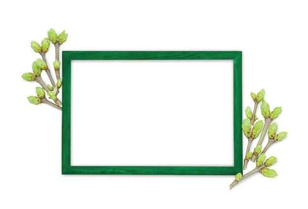 Fundo de primavera com moldura verde e ramos jovens com botões