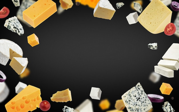 Fundo de quadro de queijo, diferentes tipos de queijo