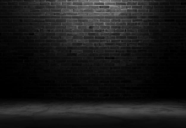 Fundo de quarto de tijolo preto.