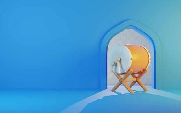 Fundo de ramadã com tambor bedug, fundo azul, área de texto de espaço de cópia, ilustração 3d