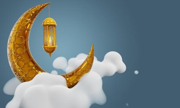 Fundo de ramadan kareem lua crescente e lanterna relâmpago no céu nublado
