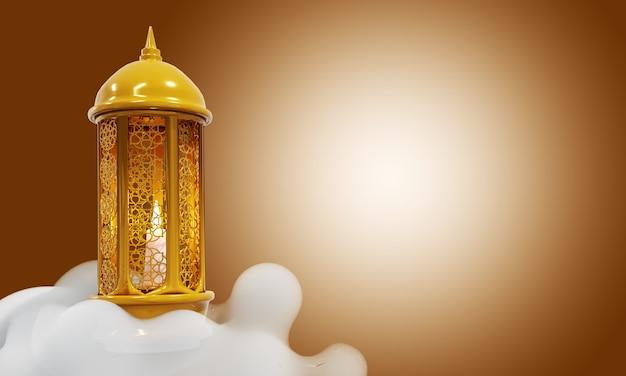 Fundo de ramadan kareem lua crescente e nuvem