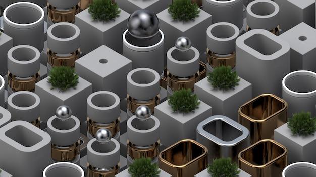 Fundo de renderização 3d abstrato com elementos metálicos, esferas, plantas realistas. composição isométrica moderna. texturas ricas.