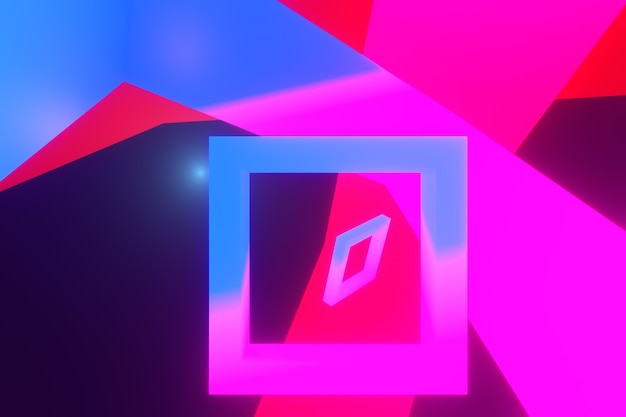 Fundo de renderização 3d. brilho de luz em formato quadrado colorido para o fundo