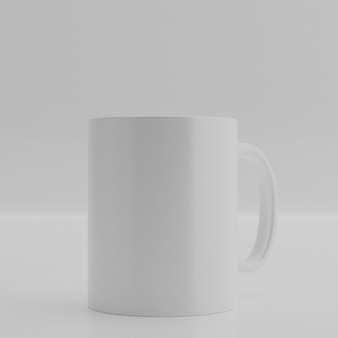 Fundo de renderização 3d. caneca de cerâmica na parede branca. copo de bebida em branco para seu projeto.