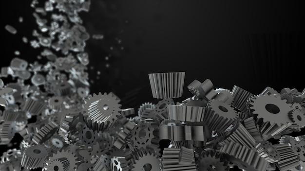 Fundo de renderização 3d com forma aleatória de engrenagem e rodas dentadas