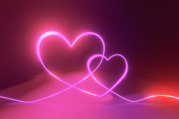 Fundo de renderização 3d. curva de iluminação de néon com reflexão de luz rosa vermelha.