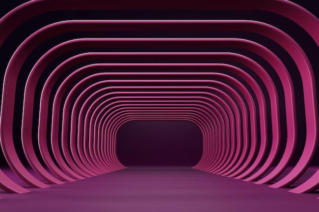 Fundo de renderização 3d de túnel curvo