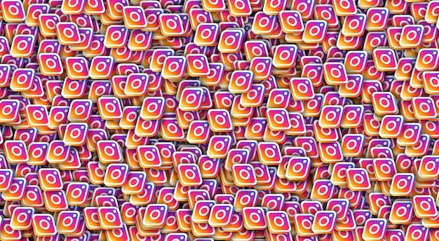 Fundo de renderização 3d do logotipo do ícone do instagram