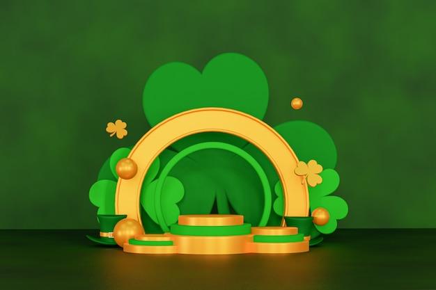 Fundo de renderização 3d dourado e verde do pódio de saint patrick