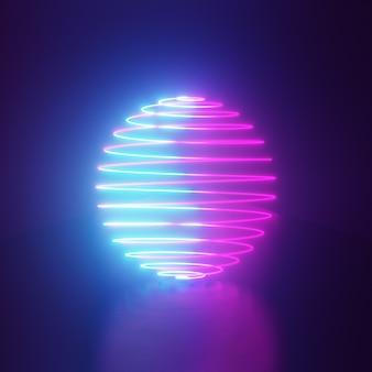 Fundo de renderização 3d. fundo escuro futuro e wireframe de círculo de esfera com reflexão de luz rosa azul. vitrine para o pano de fundo dos produtos