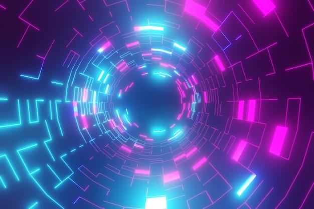 Fundo de renderização 3d. fundo escuro futuro e wireframe de tubo de círculo com reflexão de luz azul. vitrine para o pano de fundo dos produtos