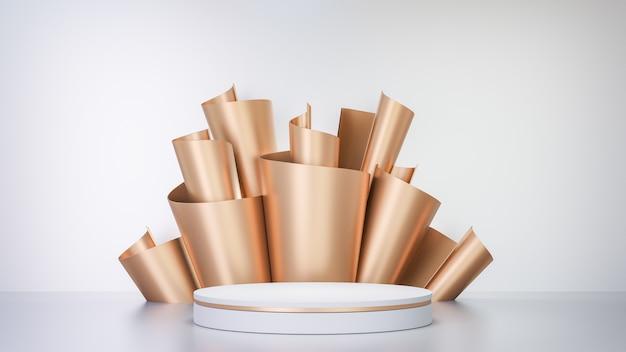 Fundo de renderização 3d. pódio de palco de cilindro branco e decoração de fileira de folha de papel dourado em fundo branco. imagem para apresentação.