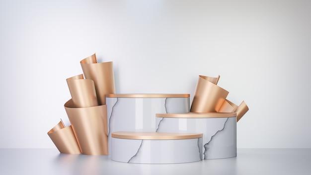 Fundo de renderização 3d. pódio de palco de três cilindros de mármore branco e decoração de fileira de folha de papel dourado de volta no fundo branco. imagem para apresentação.