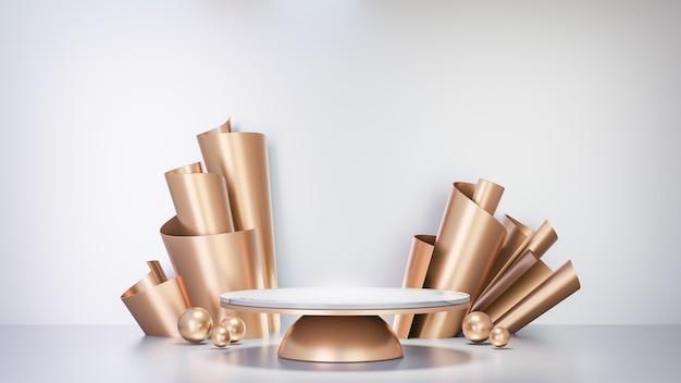 Fundo de renderização 3d. pódio do cilindro branco de mármore da mesa e decoração da fileira da folha de papel dourado nas costas e bola de esfera dourada no fundo branco. imagem para apresentação.