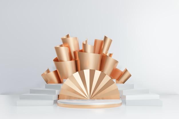 Fundo de renderização 3d. pódio do palco do cilindro de ouro branco com escada curva branca e fileira de ouro sobre fundo branco. imagem para apresentação.