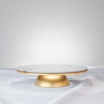 Fundo de renderização 3d. pódio do palco em cilindro de ouro em mármore branco e decoração de esfera dourada no piso de tecido branco. imagem para apresentação.
