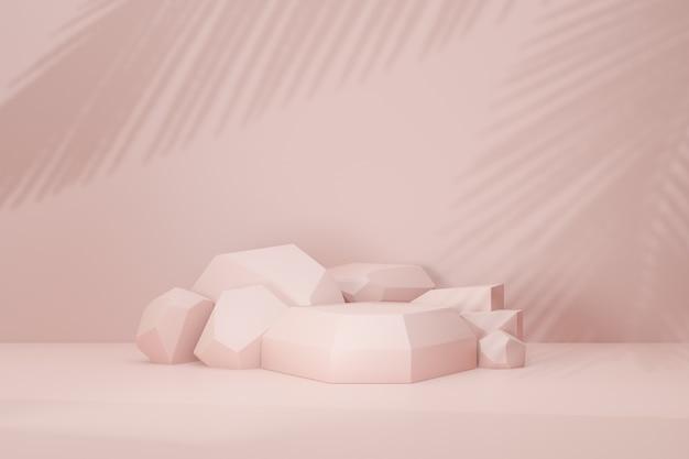 Fundo de renderização 3d. sombra de folha de palmeira do pódio do palco de pedra rosa pastel. imagem para apresentação.