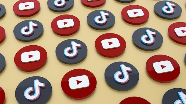 Fundo de renderização em 3d dos ícones do youtube e tiktok