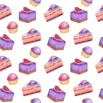 Fundo de repetição de doces, aquarela padrão sem emenda de sobremesas doces, folha de álbum de recortes de bolos de musse