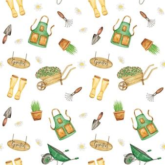 Fundo de repetição de jardinagem ferramentas de jardim padrões sem emenda férias de verão papel para scrapbook