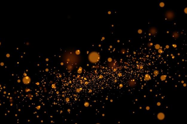 Fundo de respingo de pó de glitter dourados. pó de ouro.