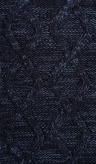 Fundo de roupas de malha azul escuro de lã quente