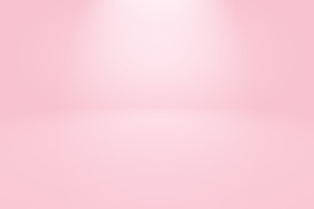 Fundo de sala de estúdio rosa claro liso vazio abstrato.