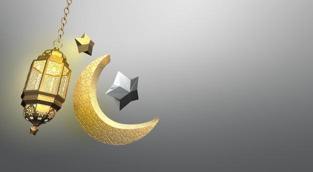 Fundo de saudação islâmica com estrela de lanterna de lua crescente e padrão árabe
