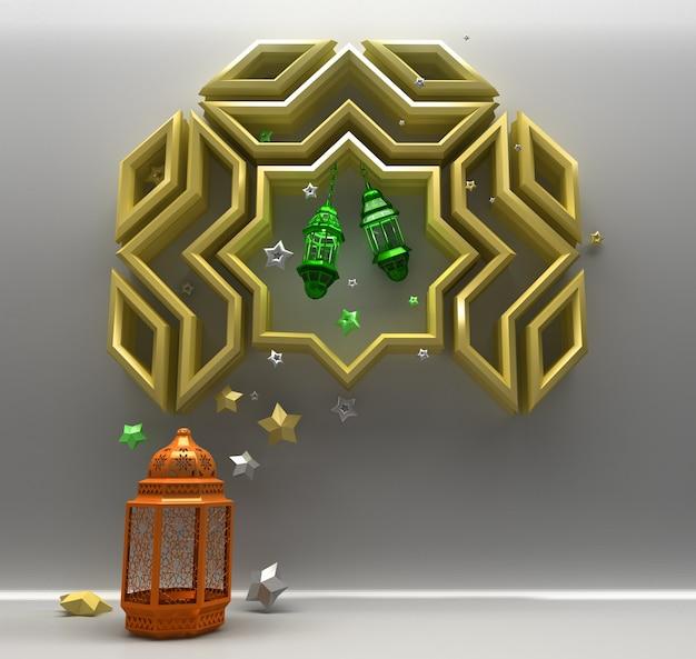 Fundo de saudação islâmica com estrela de lanterna e padrão geométrico árabe
