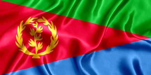 Fundo de seda em close-up da bandeira da eritreia